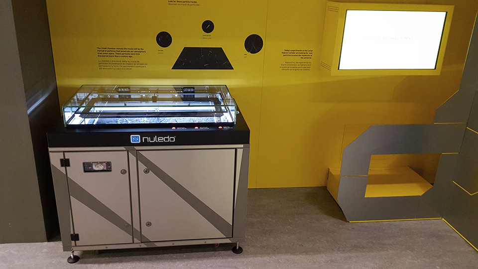 Nuledo Custom Cloud Chamber at the Microcosmos exhibition of the CERN at Geneva.
