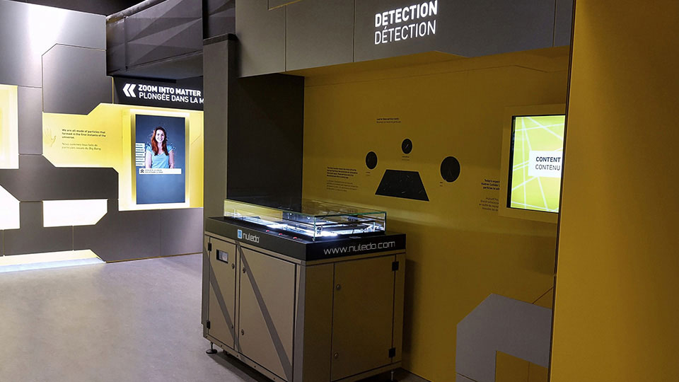 Nuledo Custom Cloud Chamber represents particle detectors before particle accelerators at CERN Microcosmos exhibition.